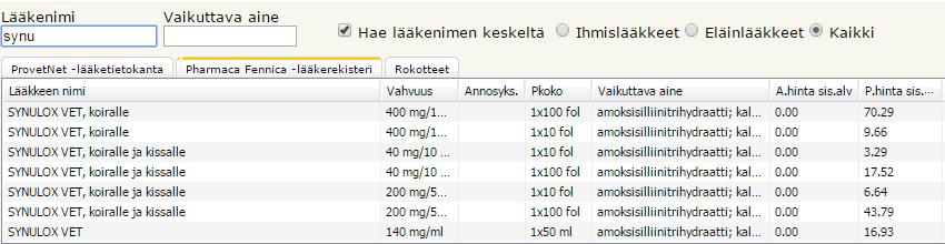 Pharmaca Fennican lääketietokanta